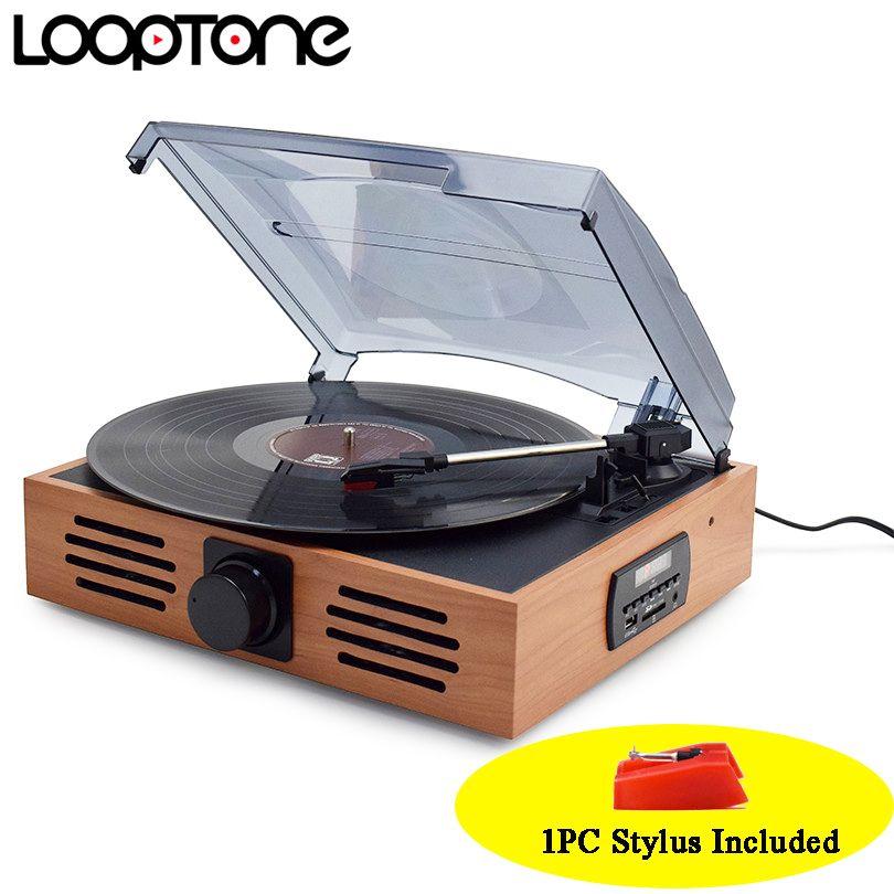 LoopTone 33/45/78 Velocidades Giradiscos USB Jugadores Vinyl LP Record Player w/FM Radio de Auriculares Jack 45 RPM Adaptador AC110 ~ 130 y 220 ~ 240 V