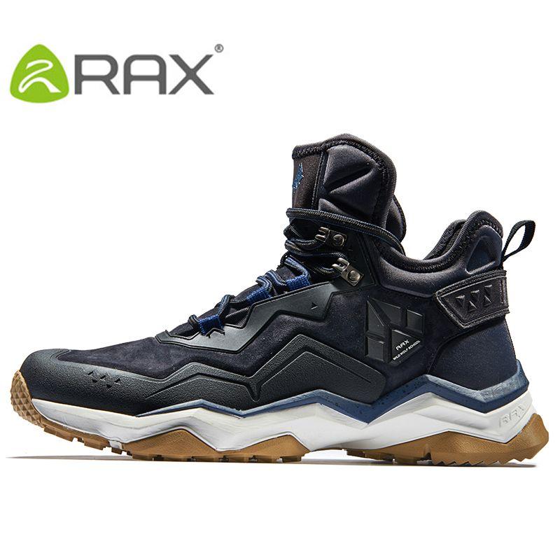 RAX Mens Waterproof Hiking Shoes Mountain Hiking Boots Genuine Leather Men Breathable Waterproof Trekking Shoes Outdoor Man