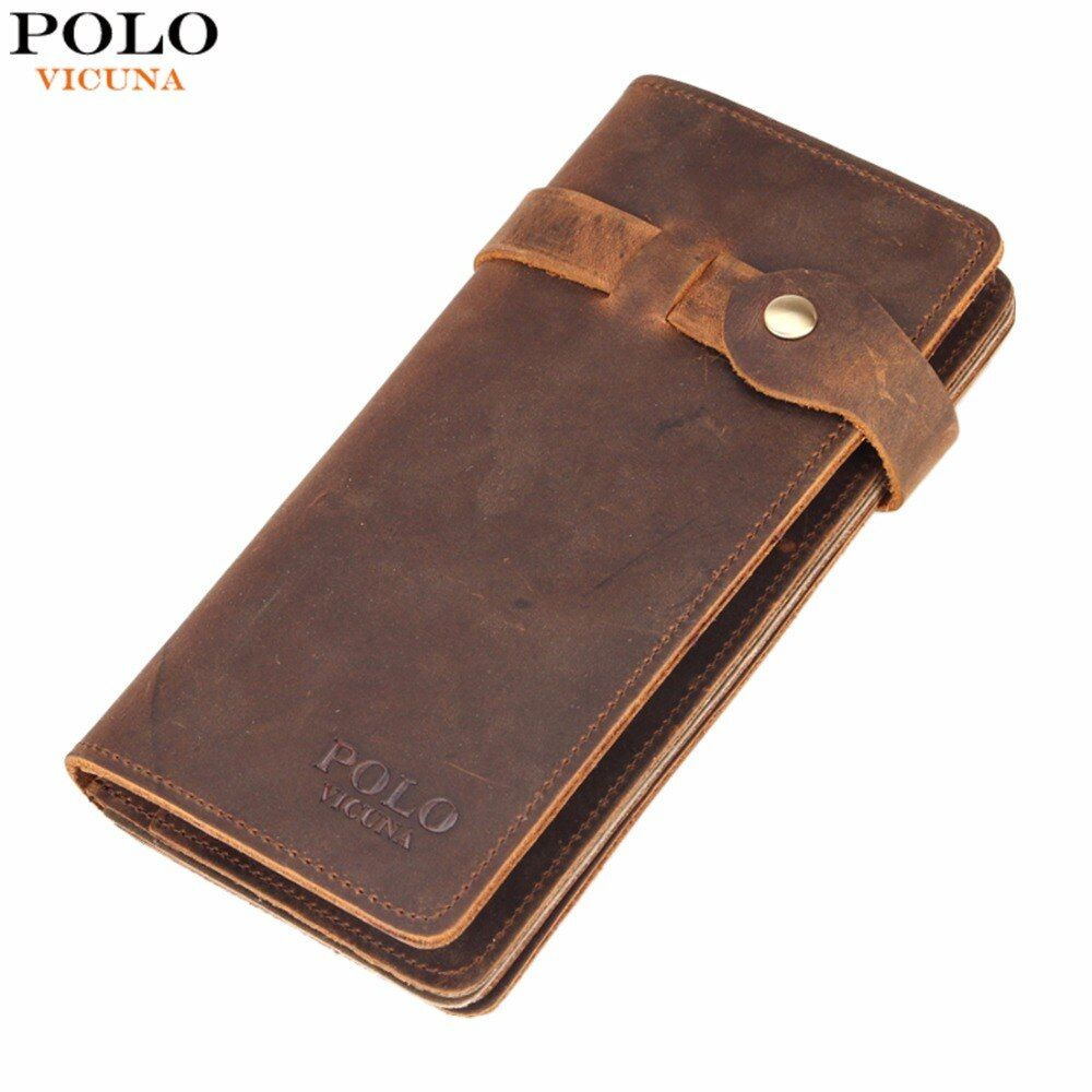 VICUNA POLO Vintage Hasp Open Genuine Leather Wallet High Large Capacity Unique Decor Crazy Horse Genuine Leather Man Wallet