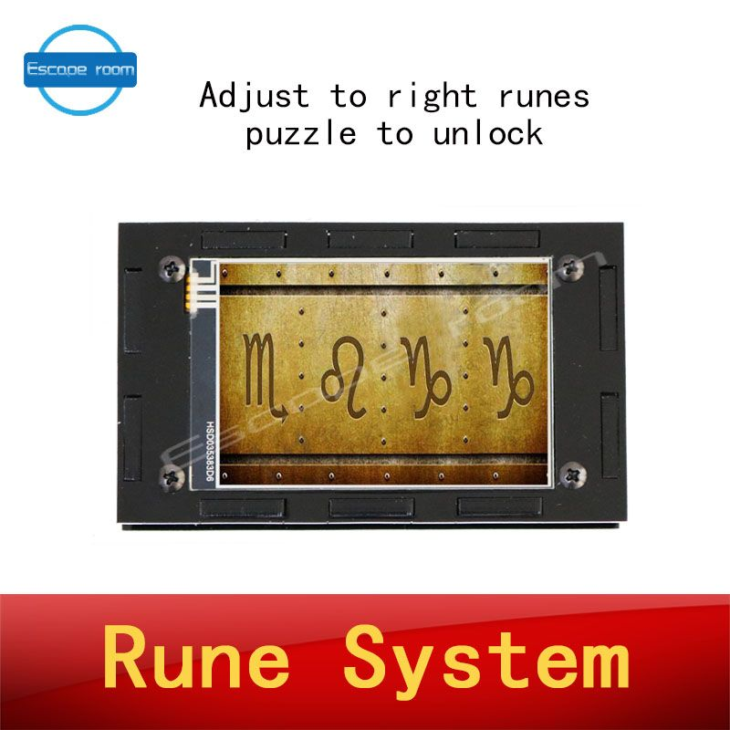 adventurer escape room game prop Runes system symbol alpabets prop adjust to right picture partten to unlock smart screen puzzle