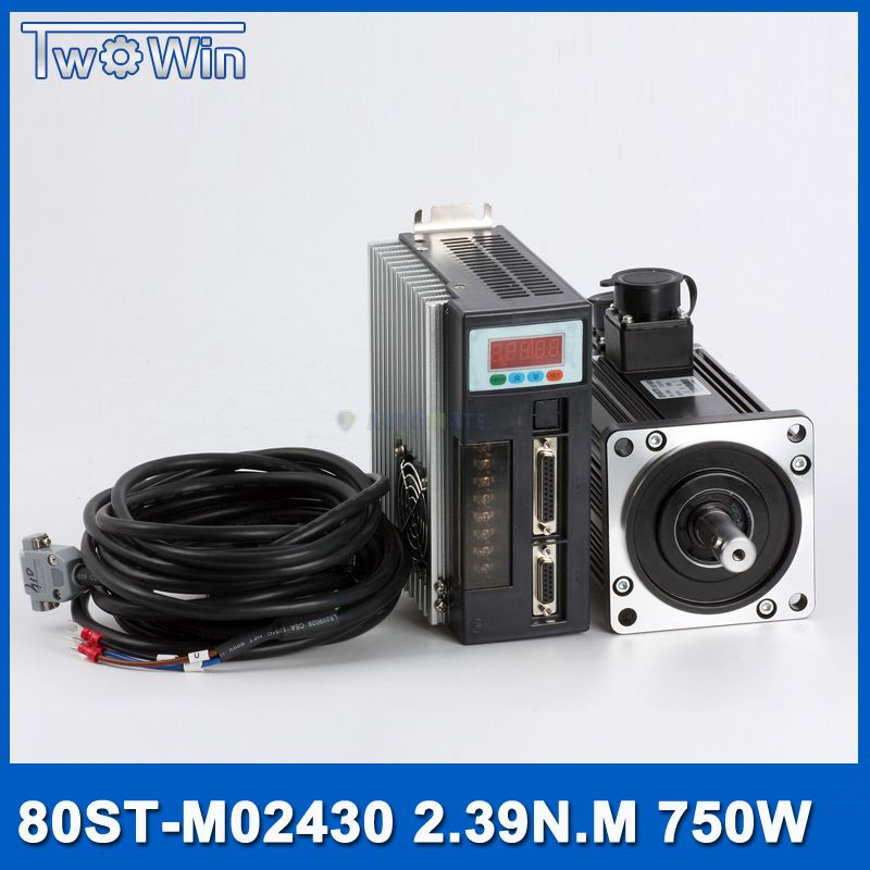 750w AC Servo Motor+Drive Kit 2.39Nm 220v 3000r/min NEMA32 80mm 80ST-M02430 for Material Conveying Machine with 3 M cable