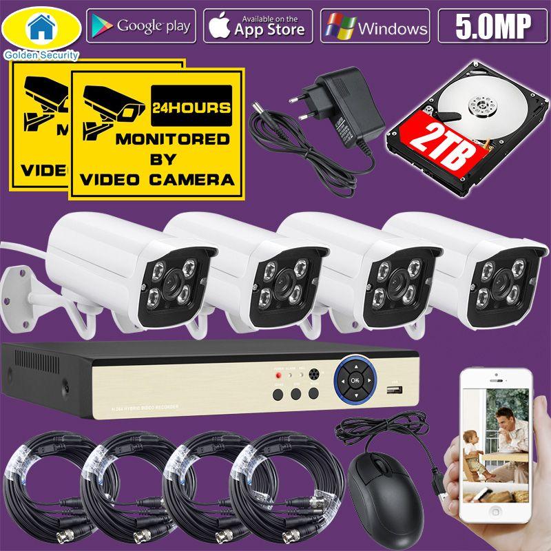 Golden Security 4CH DVR Kit 5.0MP HD CCTV Camera Surveillance 1080P HDMI Video Security Camera System Output 500G 1TB 2TB
