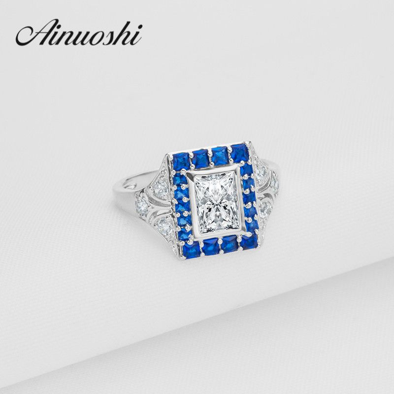 AINOUSHI Blue Stone Halo Ring 925 Sterling Silver Women Square Wedding Rings Simulated Bague Female Lovers Engagement Ring
