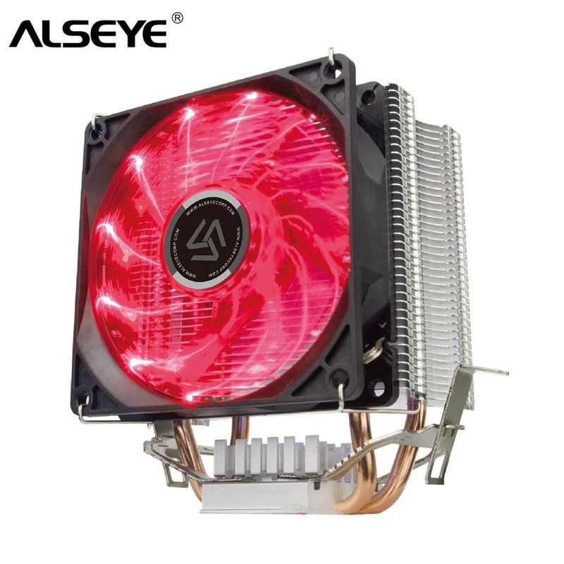 ALSEYE 2 Heatpipe CPU Cooler with LED Cooling Fan TDP 120W Cooler for LGA 1155/1151/1156/1366/775 / AM2 / AM3 / AM4