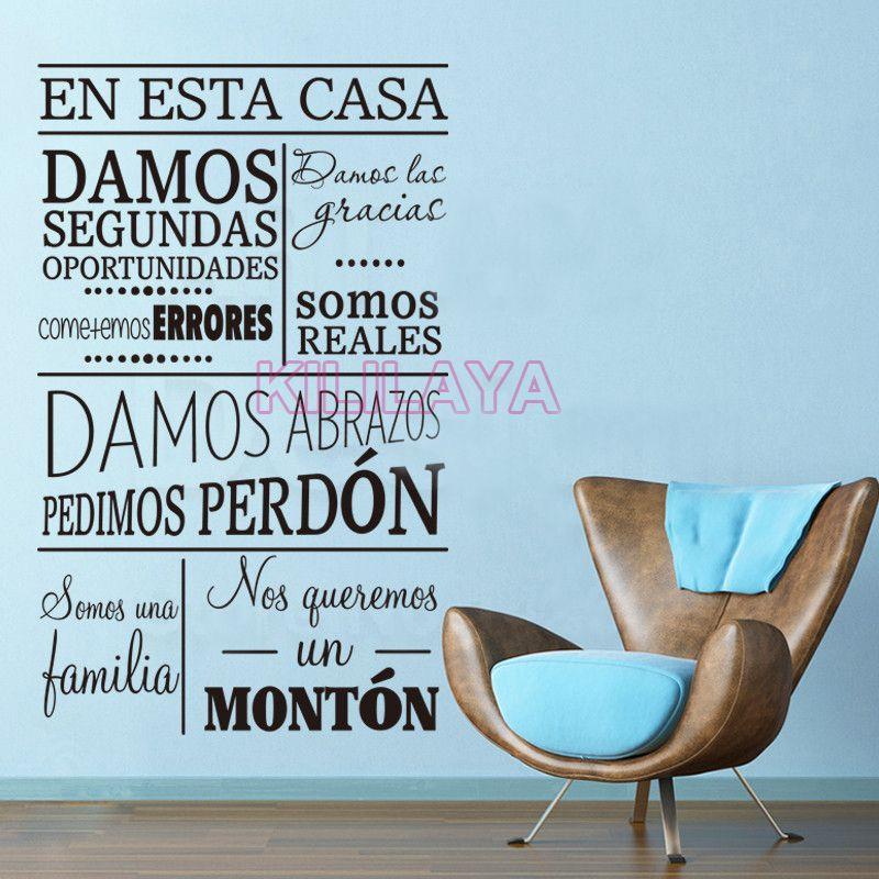 Испанский Цитата en Эста Casa damos стены винила Стикеры настенной надписи Книги по искусству для Гостиная Домашний Декор украшение дома dw1050