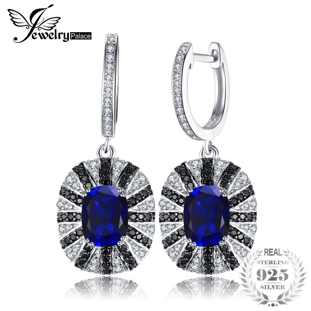JewelryPalace Luxury 7.1ct Created Blue Sapphire Black Spinel Dangle Earring Solid 925 Sterling Silver Vintage Fine Jewelry