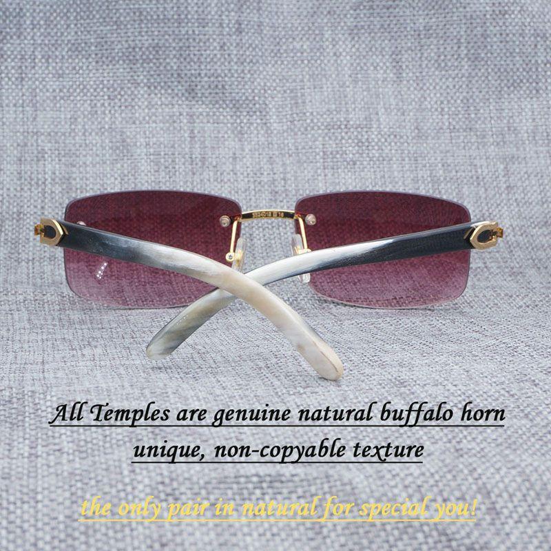 Square Sunglasses Men Luxury Buffalo Horn Glasses for Men Unique Luxury Rimless Retro Style Shades White Mix Black Temples 012
