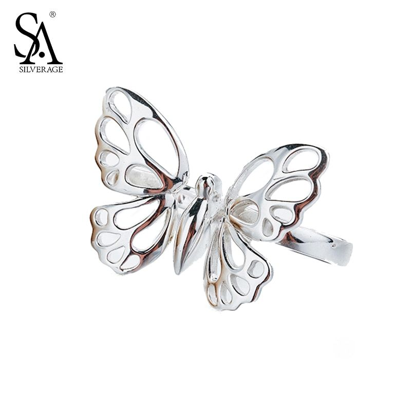Authentic 925 Sterling Silver Butterfly Rings for Women Fine Jewelry Classic Original Design Wedding Rings