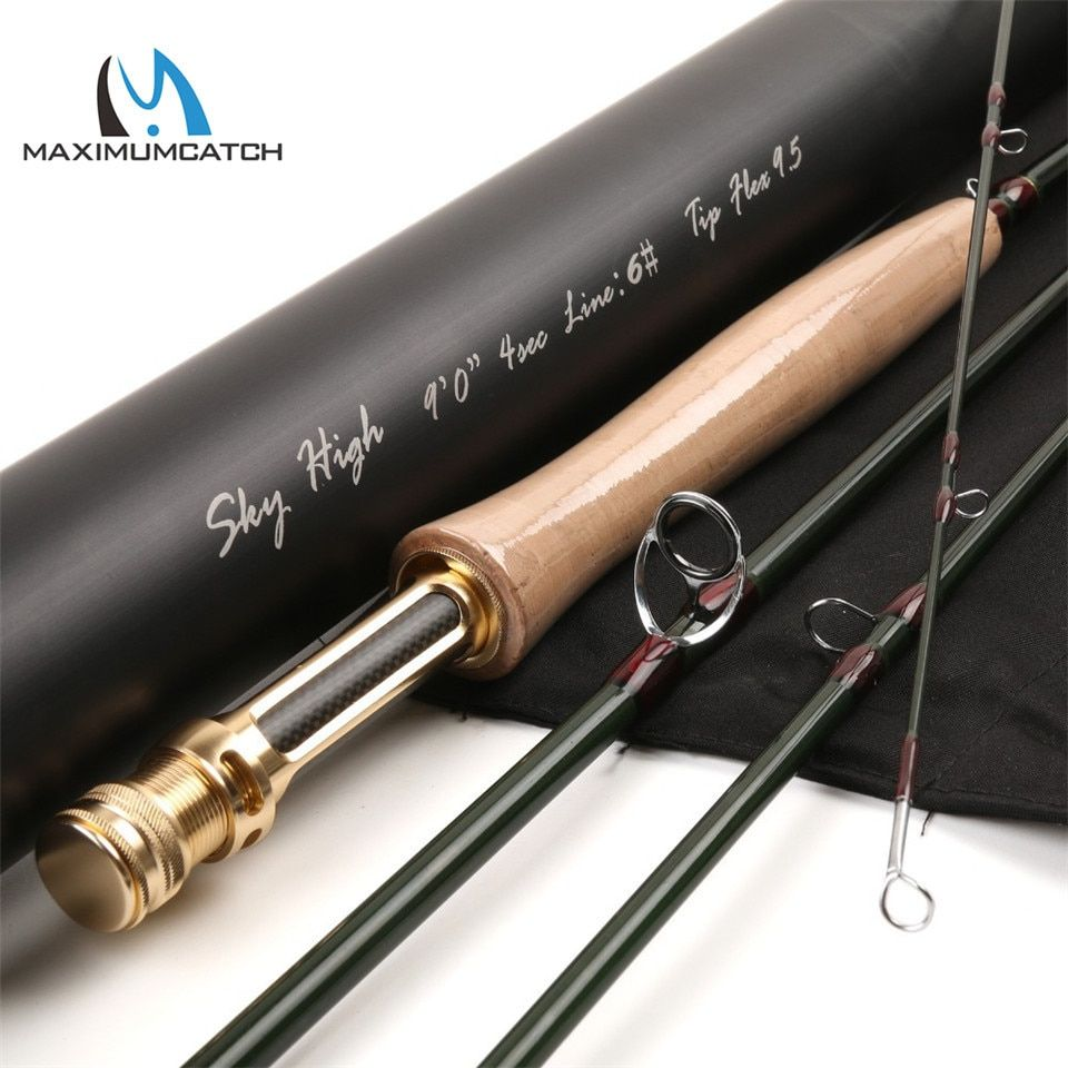 Maximumcatch Skyhigh 6-10ft 2-8wt Fly Fishing Rod Graphite IM12 Toray Carbon 3/4pc Fly Rod with Carbon Tube