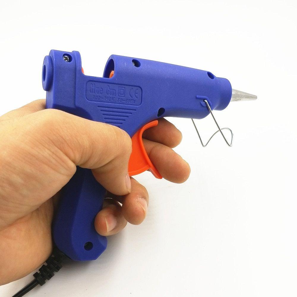 EU/US 100V-240V Gun Syringe With Hot Silicone Gun For Repair Tools Mini 20W 1pcs Blue Color a glue gun + Sticks 10pcs Free Ship