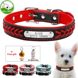Personalizado grabado Collar de perro trenzado personalizada cuero perrito gato collares para mascotas con placa teléfono identificación para pequeño mediano perros