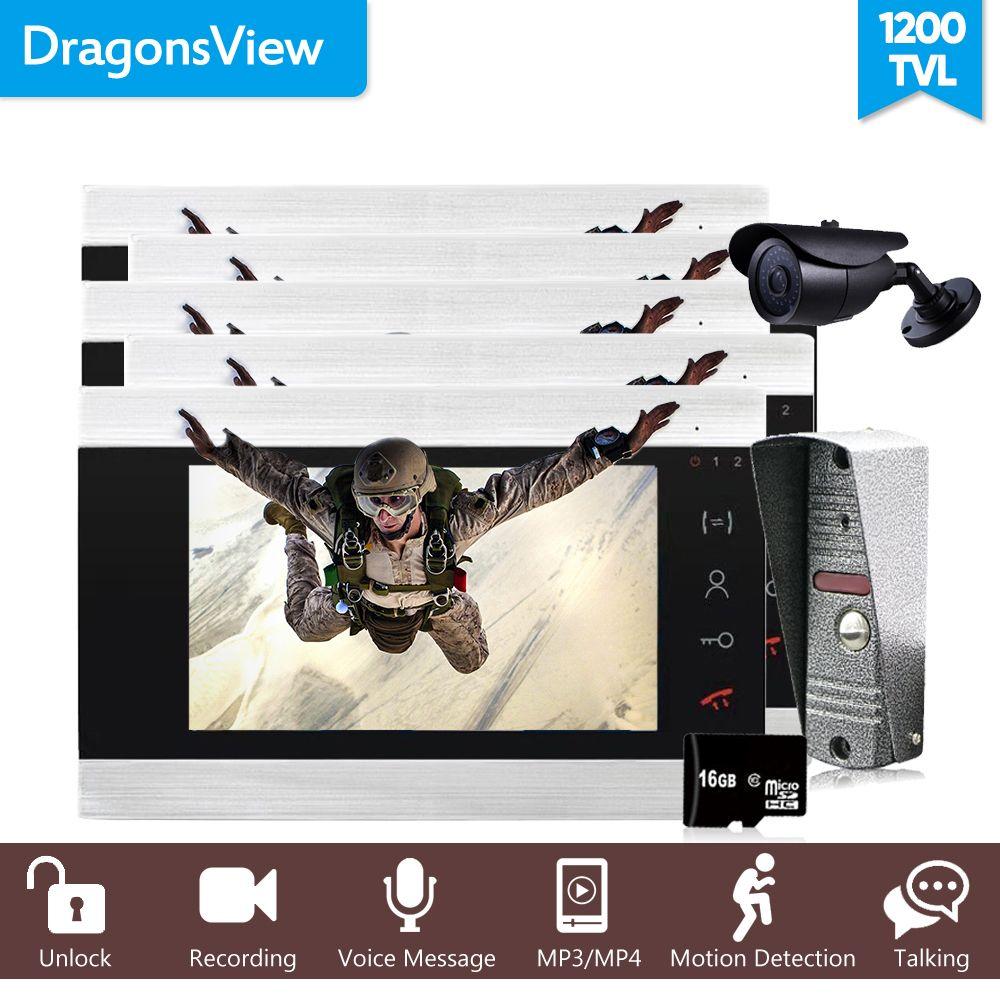 Dragonsview 7 Inch Farbe Video Tür Telefon Wired Video Türklingel 1200TVL Video Tür Eintrag Panel Intercom Kt für eine Private haus