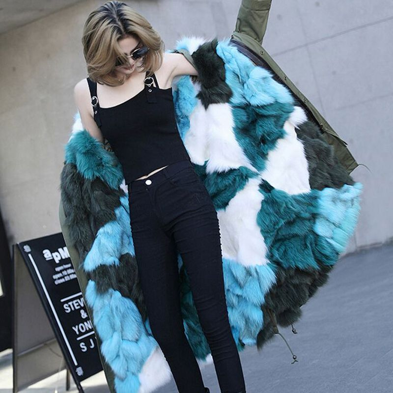 Large Natural Raccoon Fur Collar 2018 Brand Fashion Female Luxurious Parkas Real Fox Fur Liner Coat Long Winter Jacket Women