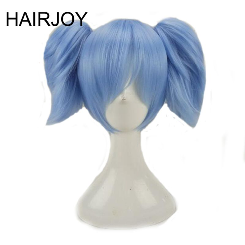 Hairjoy rosa azul Cosplay Pelucas Pelo sintético medio traje recto peluca con 2 removeabe Flequillos 3 coloes disponibles