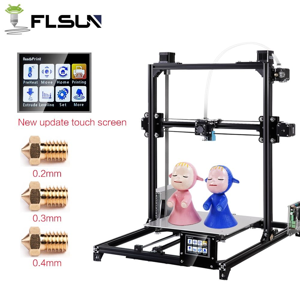 Flsun 3D Printer I3 Dual Extruder Kits Auto-leveling Large Size 300x300x420mm Printer 3D Heated Bed Two Rolls Filament touch