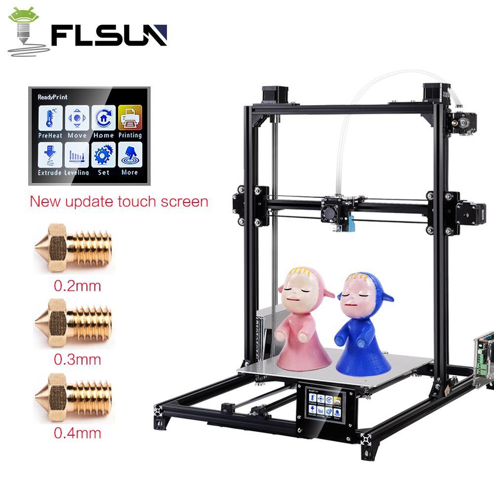 Flsun I3 de Doble Extrusora Impresora 3D Kits de Auto-nivelación de Gran Tamaño 300x300x420mm Impresora 3D calienta Cama Dos Rollos Filamento