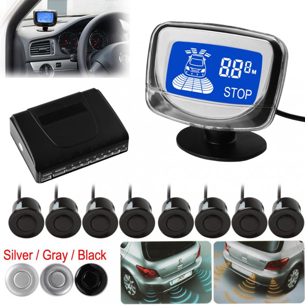 Car Auto Parktronic LED Parking Sensor With 8 Sensors Reverse Backup Car Parking Radar Monitor Detector System Backlight Display