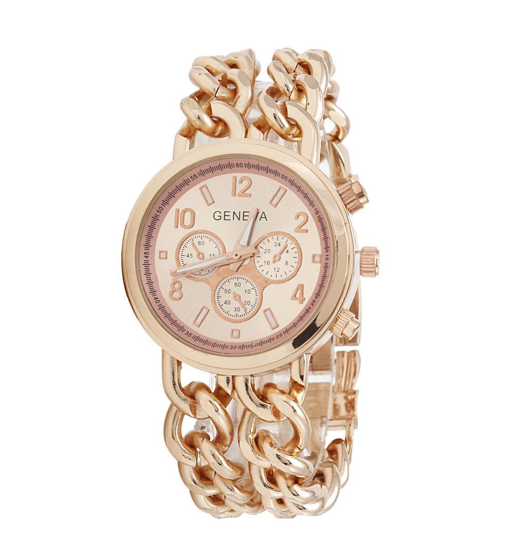 Top Moda 2016 Nuevo Doble Cadena de Oro de Ginebra Pulsera Relojes Mujeres de Lujo Famoso Ginebra reloj de Señoras Vestido Reloj Relogio masculino