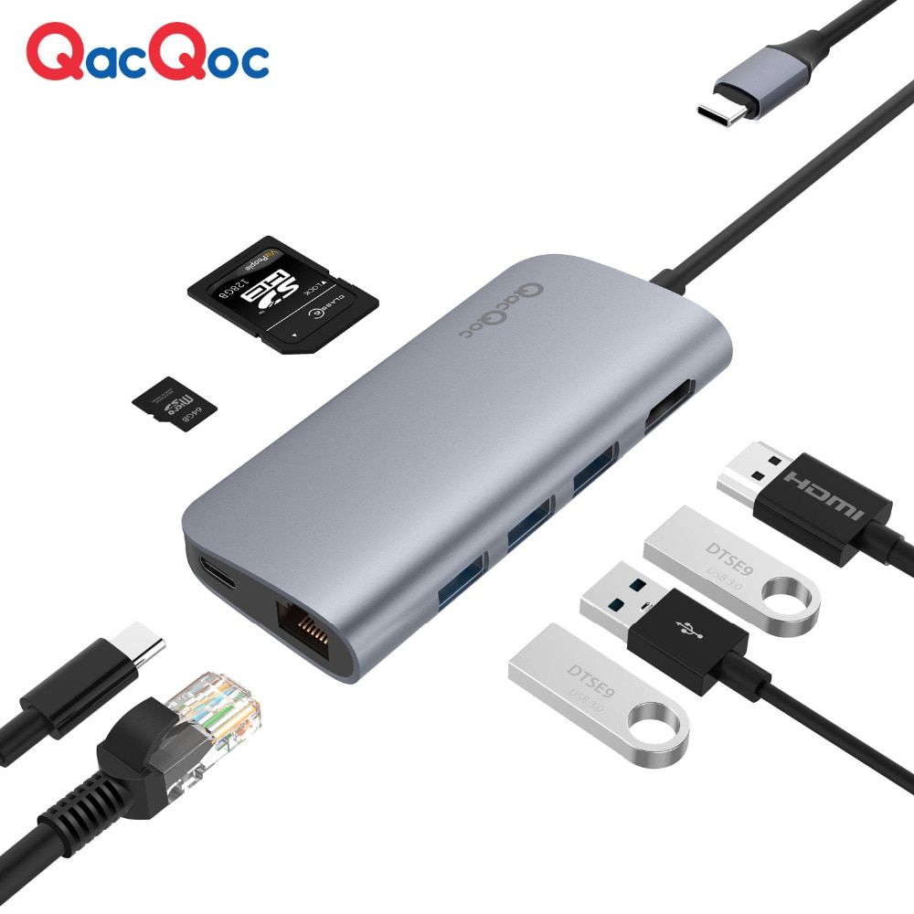 QacQoc GN30E Aluminium USB C Hub with 3 USB 3.0 Port 4K HDMI Card Reader RJ45 Port Type-C Power delivery for Macbook/pro adapter