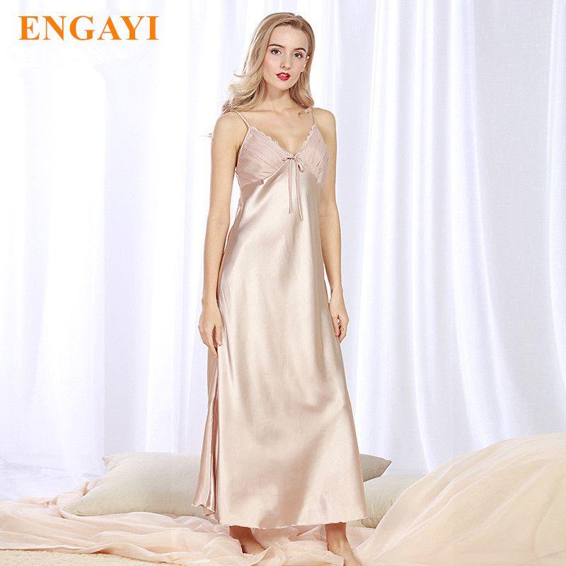ENGAYI marque longue femmes robe de nuit d'été grande taille Sexy dentelle chemise de nuit en soie Satin chemise de nuit chemise de nuit CQ311