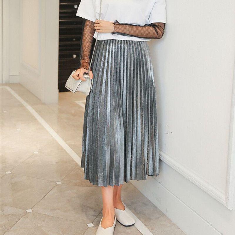 2017 femmes métallique argent jupe élastique taille Midi jupe taille haute métallique plissée jupe Club de fête dames Saia Fenimias