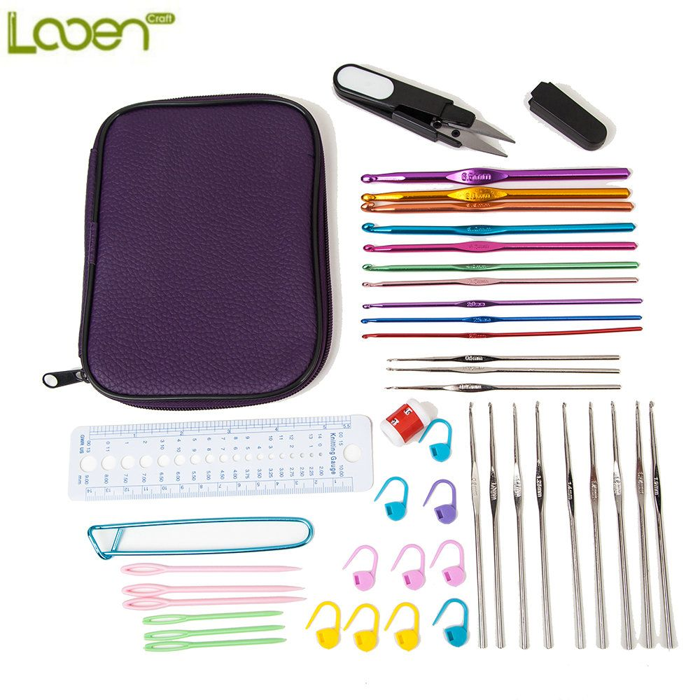 Looen Brand Hot Selling 22Pcs Set Multi-colour Aluminum And Silver Crochet Hooks Needle Kit For Knit Weave Craft Yarn with Bag