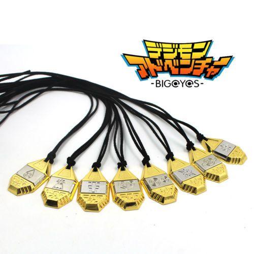 Anime Digimon Abenteuer Digitale Monster Digimons Gold Evolution Abzeichen Magnetische Anhänger Halskette Seil Cosplay Sammlung Geschenk Neue