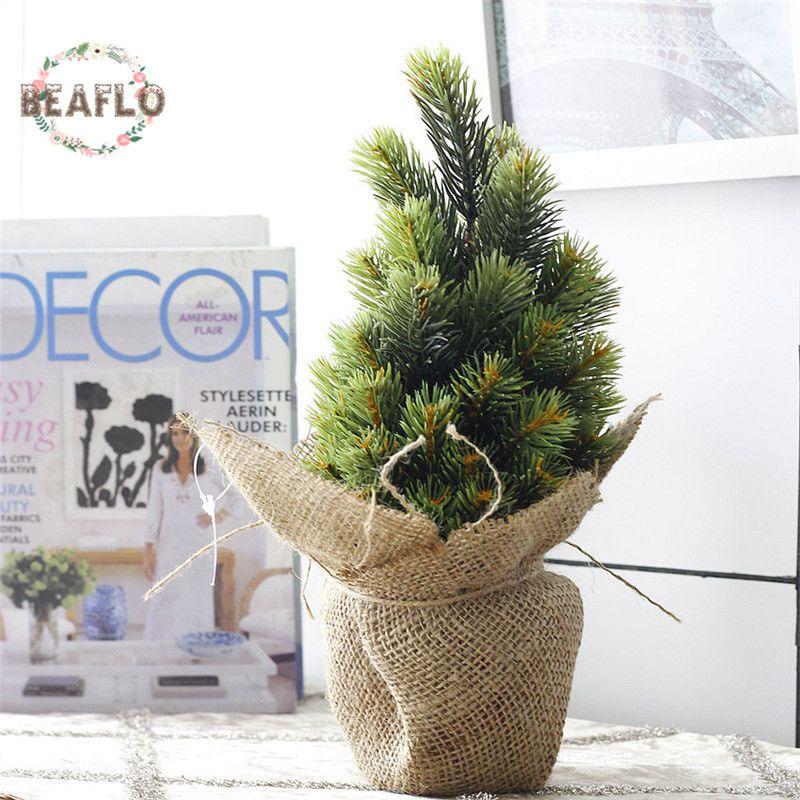 1 ensemble Mini vert plante artificielle arbre de noël en pot soie Art fleur bonsaï pour mariage décoration de fête à la maison