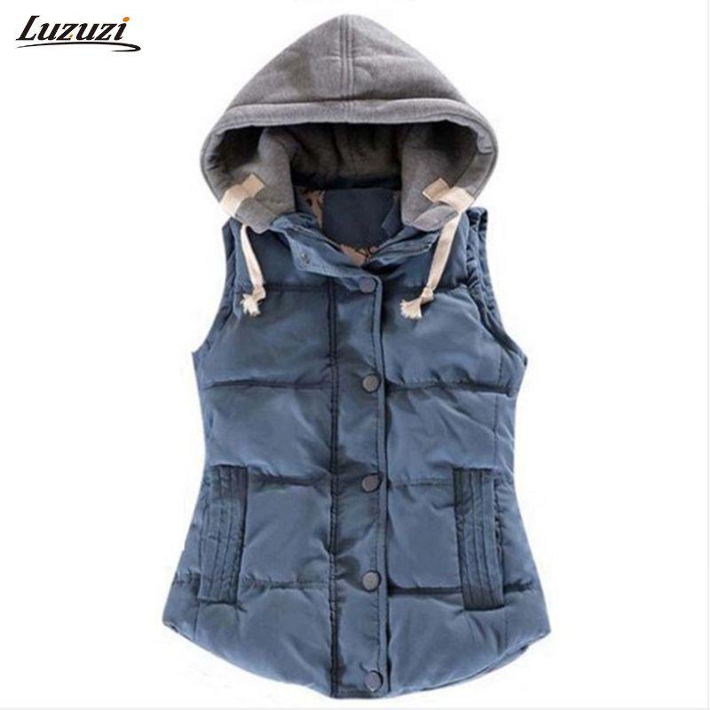 1PC Hooded Vest Women Autumn Winter Cotton Padded Colete Feminino Veste Femme Gilet Waistcoat 8 Colors Z509