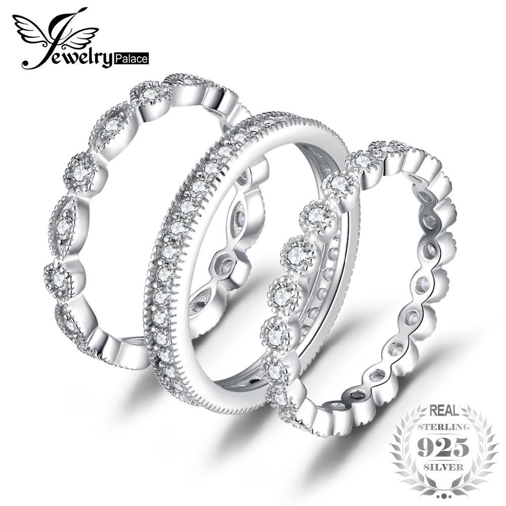 JewelryPalace Mode 2.15ct zircone cubique 3 Eternity Band bagues pour femmes Pur 925 Bague En Argent Bijoux En Argent Réel