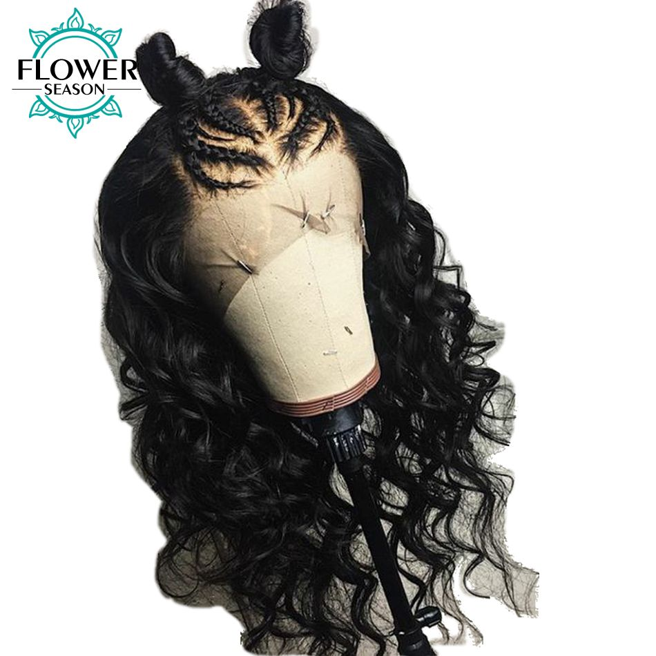 FlowerSeason Wavy Brazilian Full Lace Human Hair Wigs With Baby Hair Remy Hair Glueless Pre Plucked Lace Wig Bleached Knots