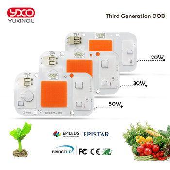 1 pcs Hydroponice AC 220 V 20 w 30 w 50 w cob led élèvent la lumière puce spectre complet 370nm-780nm pour Plante D'intérieur Semis Croître et Fleur