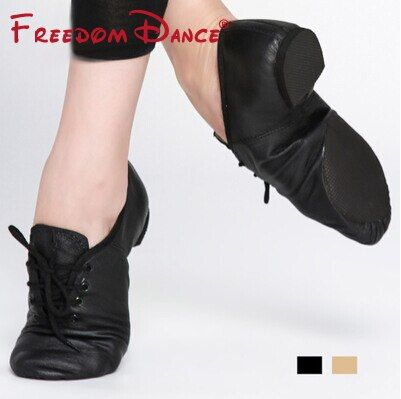 Quality Pig Leather Lace-Up Jazz Dance Shoes Soft Ballet Jazz Dancing <font><b>Sneakers</b></font> Black Tan Colors Men Women Free Shipping