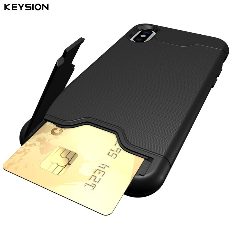 KEYSION Case For iphone X Shockproof cover for iPhone X Kickstand Armor Phone Bag Cases For iphone 10 Card Holder Coque