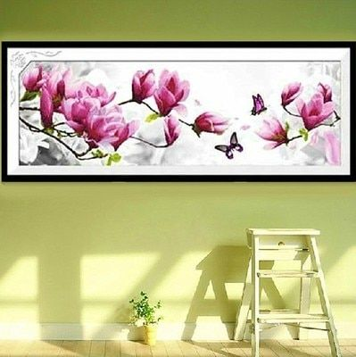 2017 new butterflies play magnolia  DIY 5D diamond painting, cross stitch suite, diamond inlaid home decorations