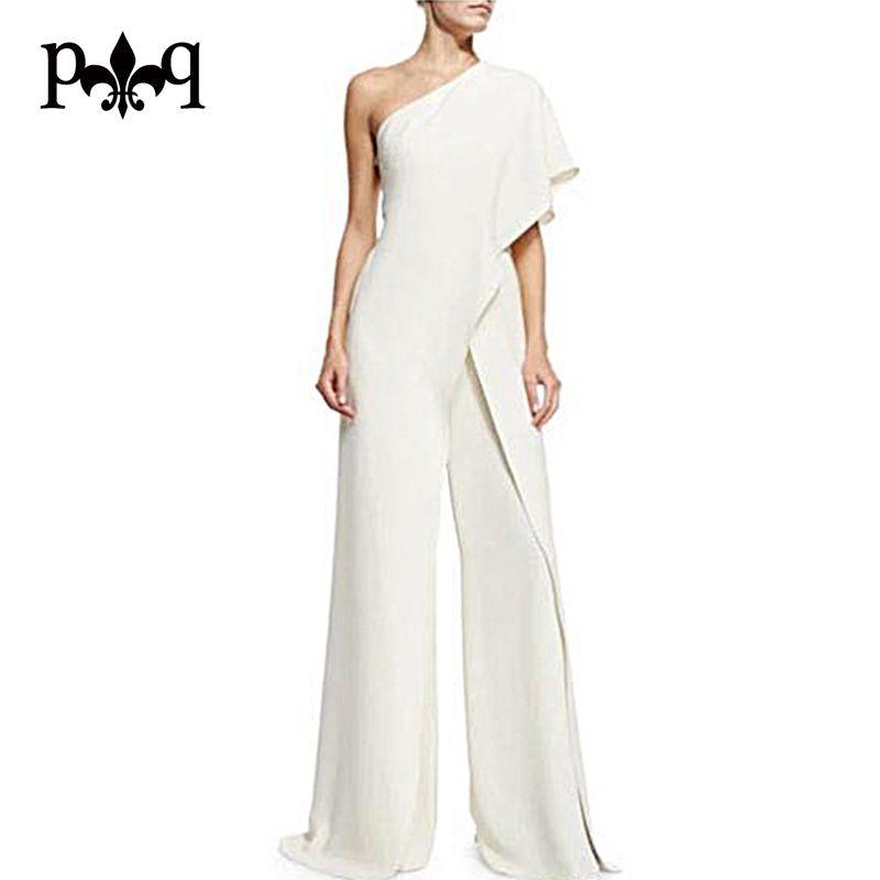 Hilove Femmes D'été Salopette 2017 Nouvelle Mode Une Épaule Blanc Combinaisons Dames Élégantes Large Jambe Pantalon Occasionnel Femmes Salopette