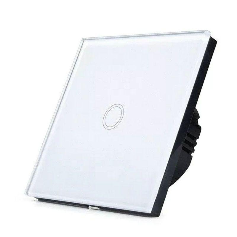 EU Standard Light Wall Touch Switch ,1 gang waterproof toughened glass panel For Wall Lights