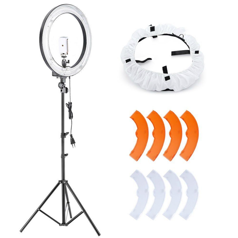 Neewer 18 Inches Dimmable 75W 5500K Fluorescent Ring Light+Tripod+Diffuser+Mini Ball Head+Phone Holder for Makeup/YouTuber
