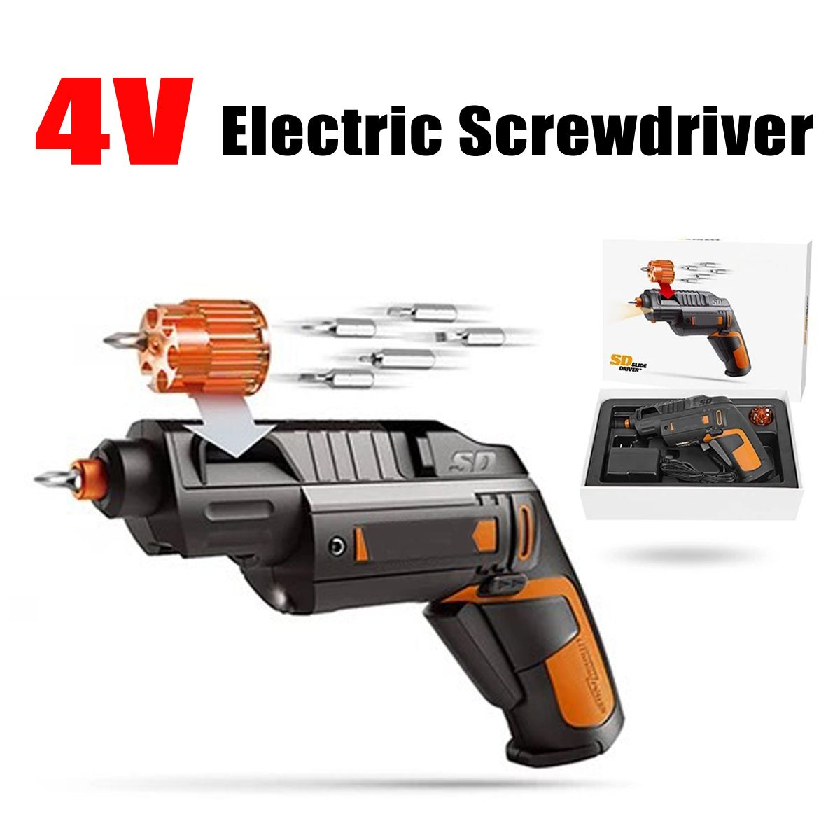 4V Electric Screwdriver With Li-Ion Battery Rechargeable Cordless Household Multifunction For WORX Electric Drill Hand Tool
