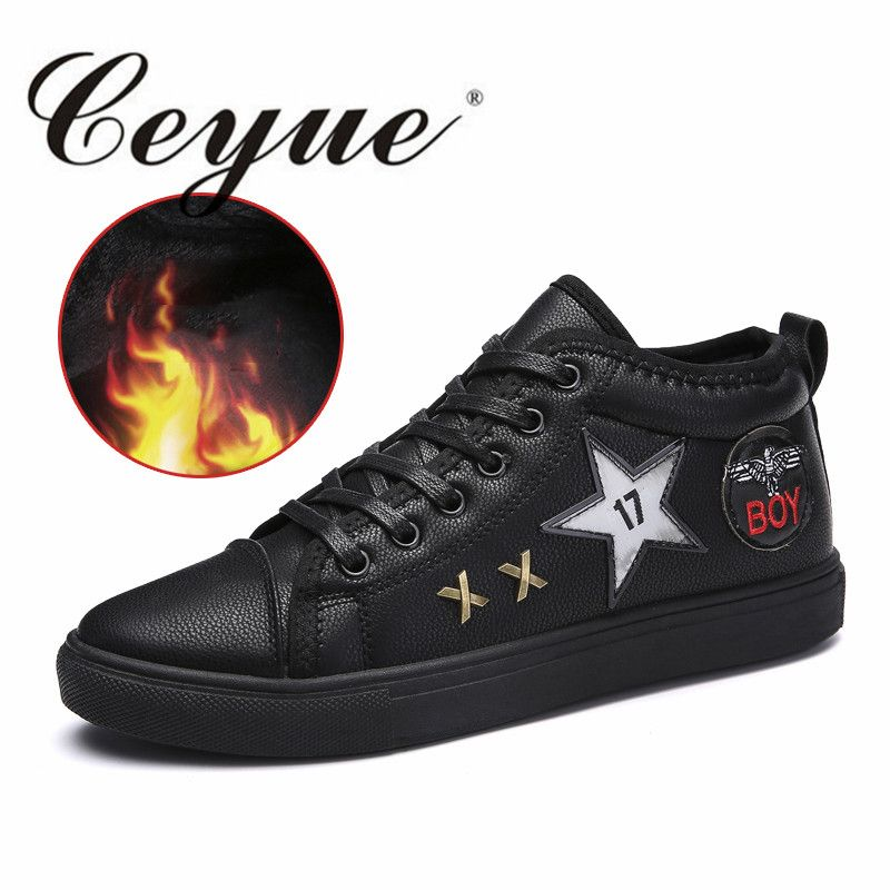 Ceyue Super Men'S Skateboarding Shoes Athletic Shoes Breathable Men Sneakers Winter With Fur Sport Outdoor Old Skool Men Shoes