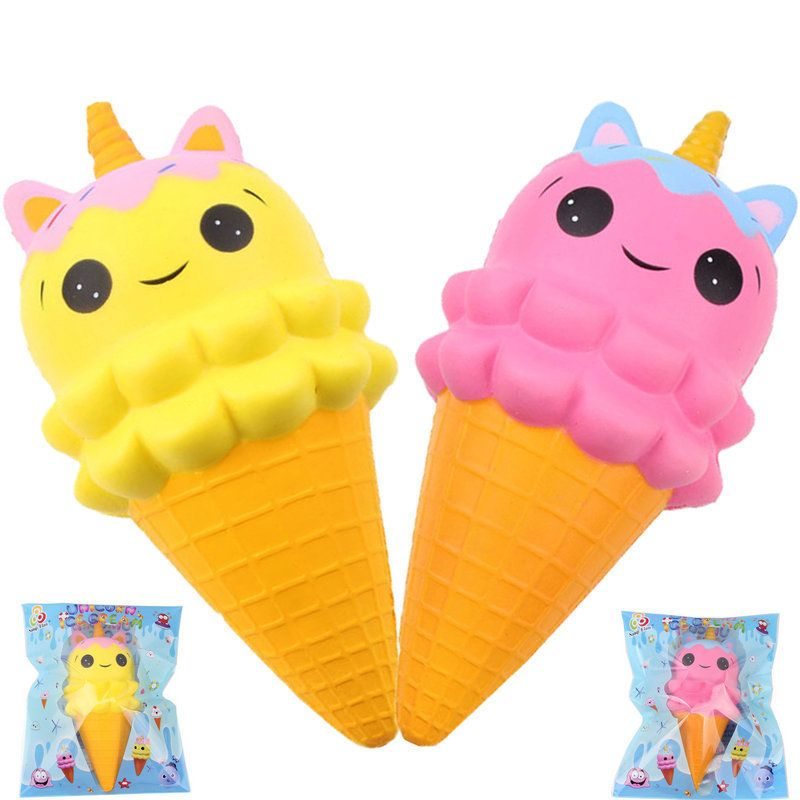 New 20CM Kawaii Emoji Face Horn Ice Cream Squishy Jumbo Slow Rising Soft Squeeze Charms Bread Cake Scented Phone Straps Toys