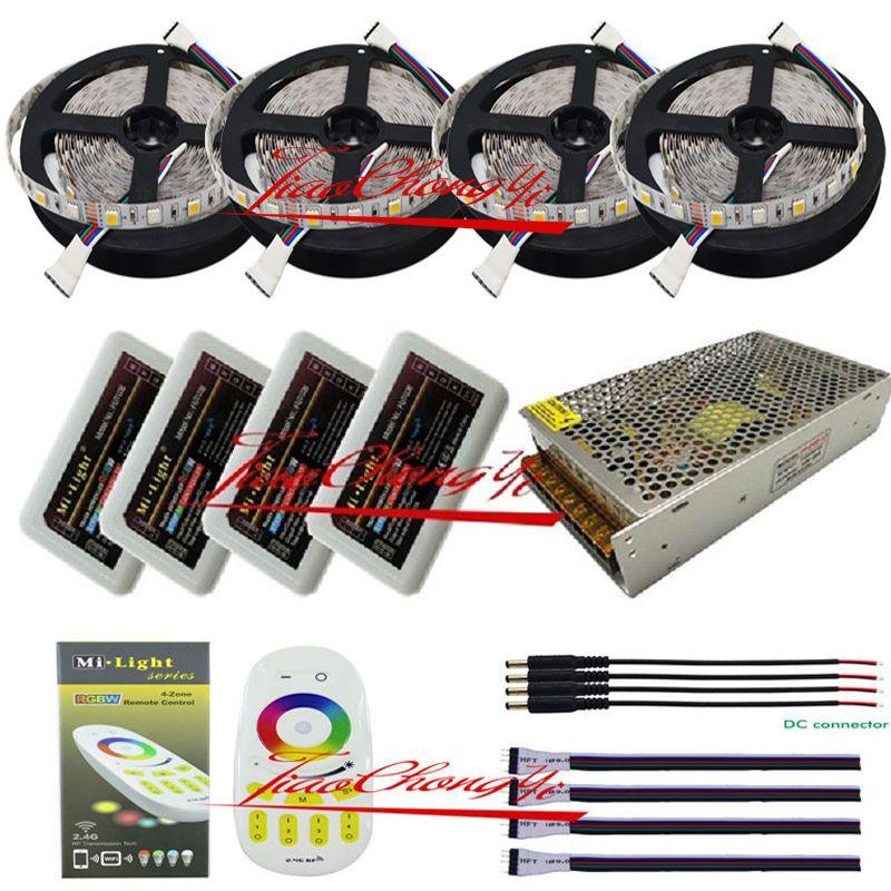 5m to 20m 5050 300led RGBW RGB+white led strip light + Remote controller+Power