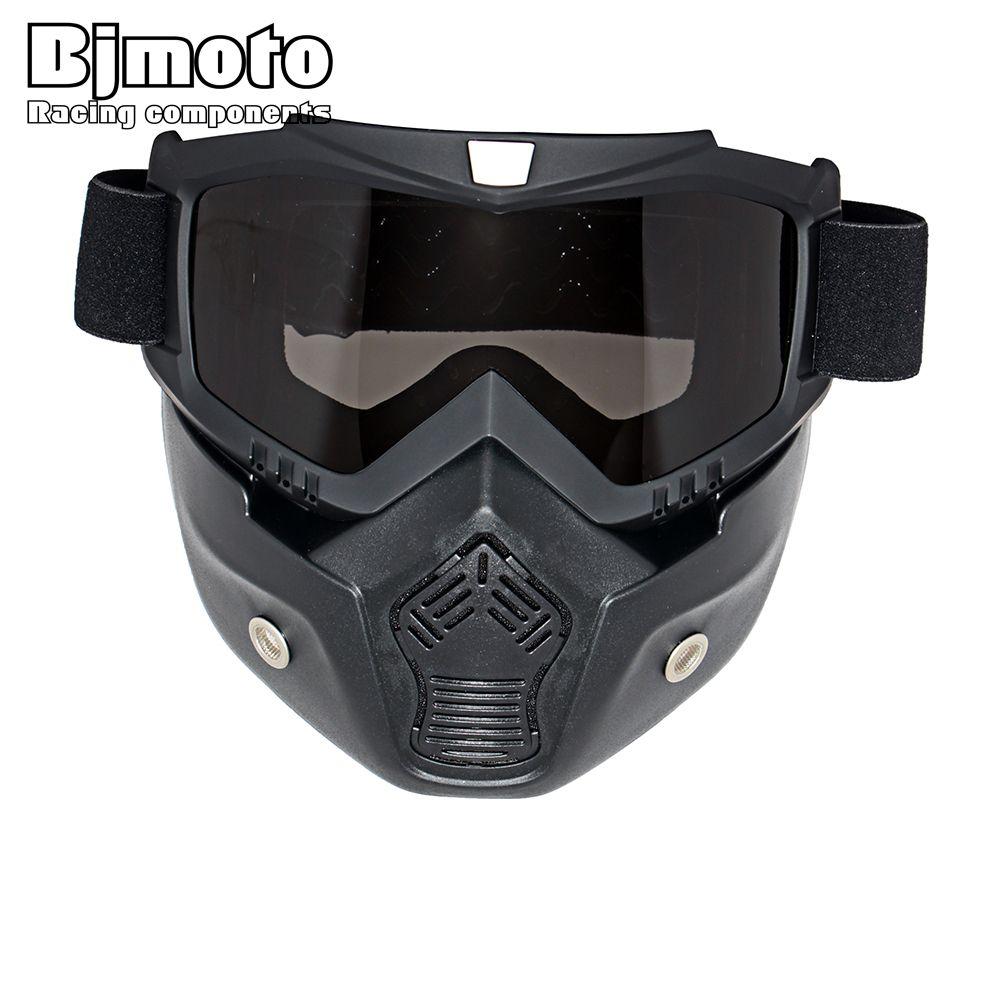 Motocross Goggles Brille Gesicht Staubmaske Mit Abnehmbare Motorrad Oculos Gafas Und Mund Filter Für Offene Gesicht Vintage Helme