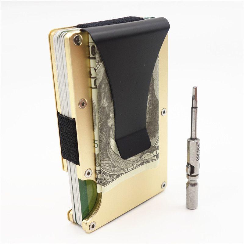 Модные держатель кредитной карты Путешествия Мини RFID кошелек Для мужчин Slim Card Case Мужской зажим для денег маленький кошелек