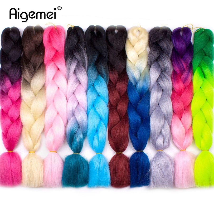 Aigemei Jumbo Braids Crochet Braid Hair Synthetic Crochet Hair Extensions 24inch High Temperature Ombre Braiding Hair For Women