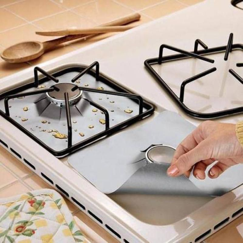 4pcs/lot Reusable Aluminum Foil Gas Stove Protector Cover/Liner Glass Fiber Foil Gas Stove Burner Kitchen Tools Mat