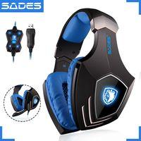 SADES A60 USB Виртуальный 7,1 Gaming Headset проводные наушники глубокий бас вибрации шлем наушники с микрофоном для Gamer