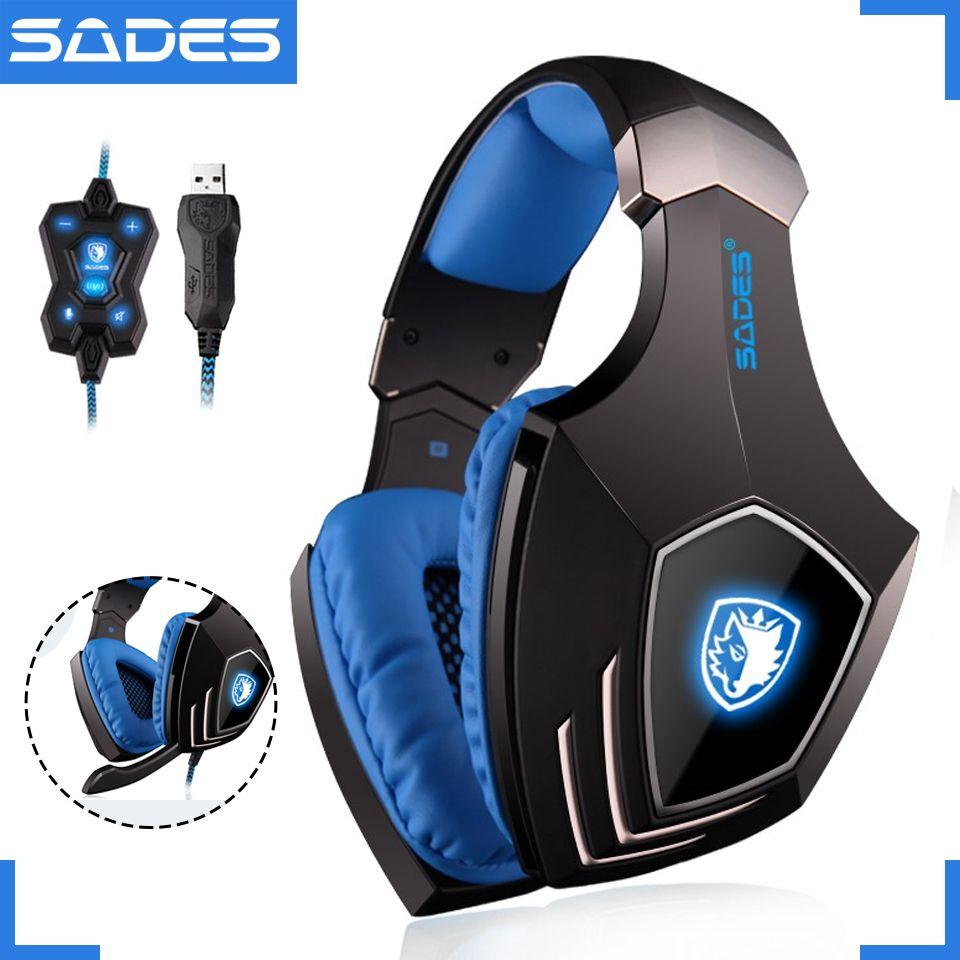 Sades A60 USB 7.1 Прохладный Gaming Headset проводной Игры наушники вибрации Наушники с микрофоном для Gamer