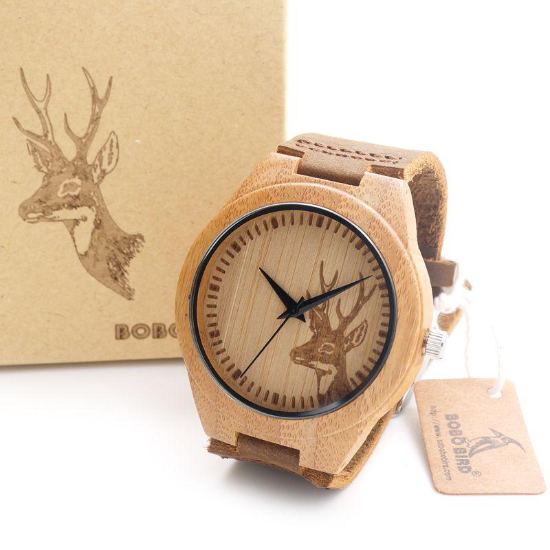 BOBO <font><b>BIRD</b></font> Top brand Men's Bamboo Wooden Watch Quartz Real Leather Strap Men Watches relojes finos de hombre