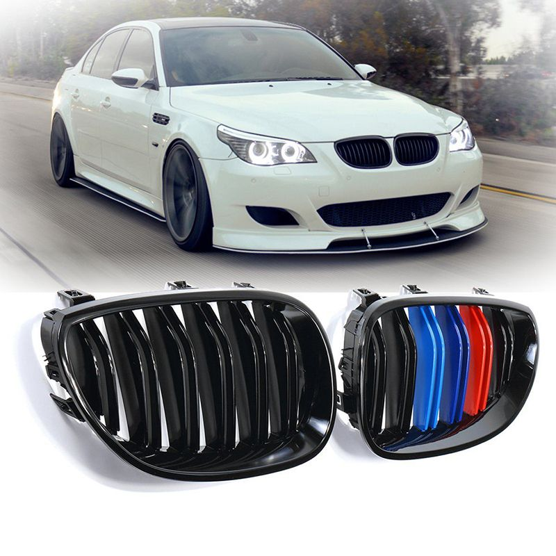 1 pair car Front Grilles Gloss Black M-Color Front Kidney Grill Grille for 2003-2010 BMW E60 E61 5 Series